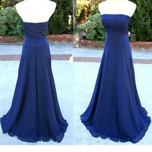 Navy chiffon gown with silk panels on bodice